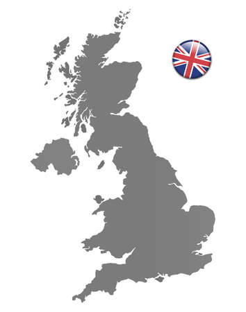 national colors: United Kingdom map with a magnet in national colors