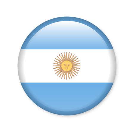 bandera argentina: Argentina - botón de bandera brillante Foto de archivo