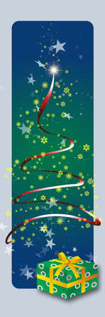 Christmas card with stars and a gift package photo