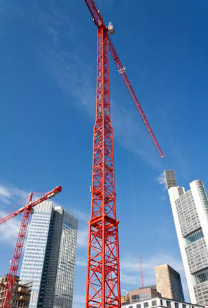 high rise: Construction cranes