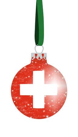 switzerland flag: Christmas ball - Switzerland