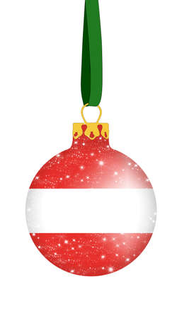 landlocked: Christmas ball in the colors of the flag of Austria with glittering stars