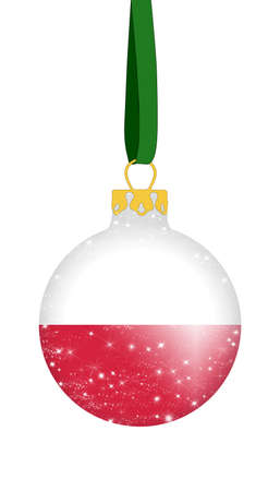 Christmas ball in the colors of the flag of Poland with glittering stars Stock Photo