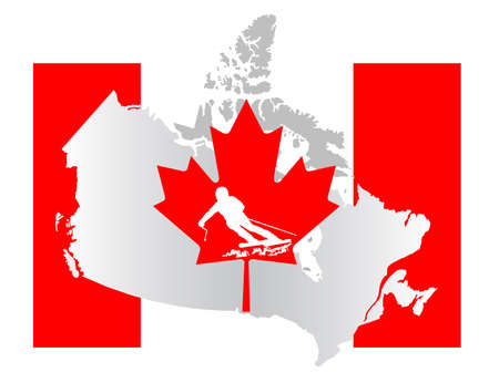 vancouver city: Canada map with a skier silhouette