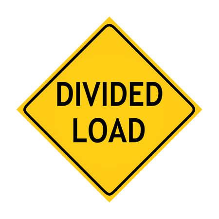 split road: Fun road sign -  Divided Load  Stock Photo