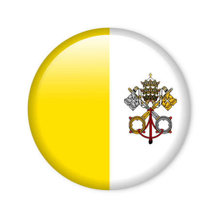 st  peter s square: Glossy button in the national colors of the Vatican City