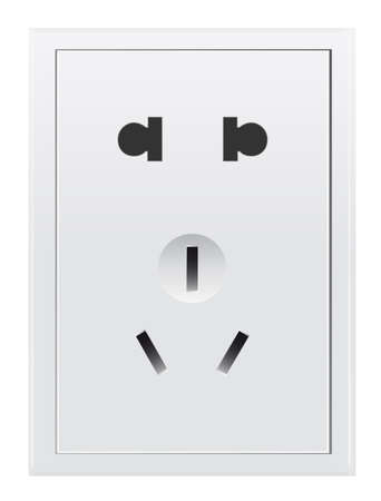 Electric 3-pin wall socket