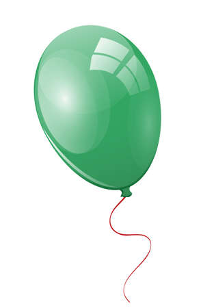 Green balloon with ribbon Stock Photo