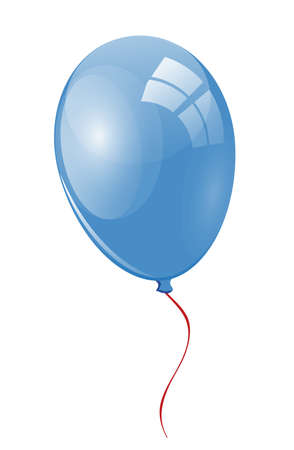 merrily: Blue balloon with ribbon