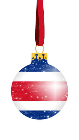 Christmas ball in the colors of the flag of Costa Rica with glittering stars