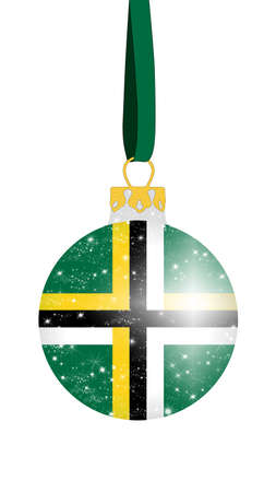 Christmas ball in the colors of the flag of Dominica with glittering stars Stock Photo