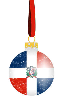 Christmas ball in the colors of the flag of the Dominican Republic with glittering stars