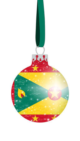 Christmas ball in the colors of the flag of Grenada with glittering stars