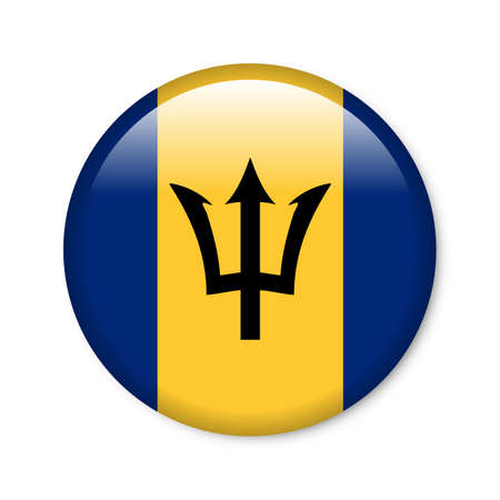 Barbados - glossy button with flag