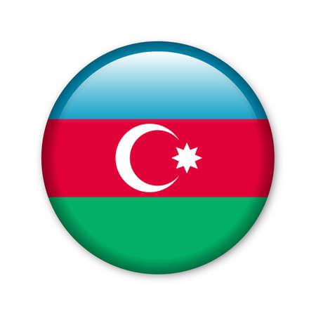 Azerbaijan - glossy button with flag
