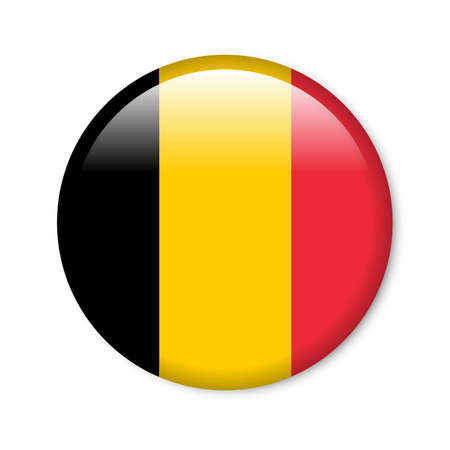 belgium flag: Glossy button in the national colors of Belgium
