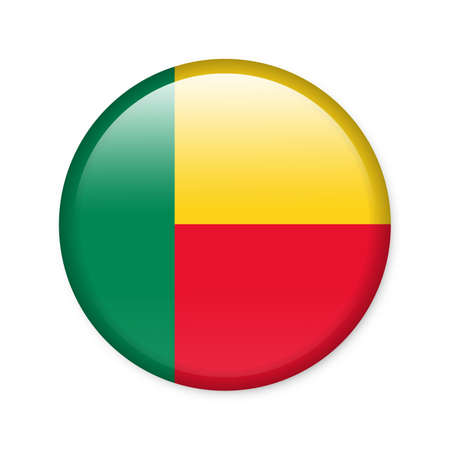 benin: Benin - glossy button with flag