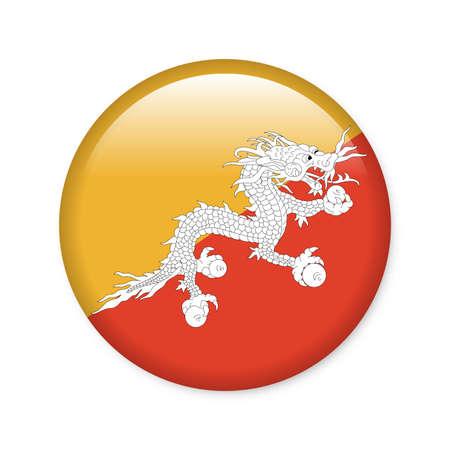 Bhutan - glossy button with flag