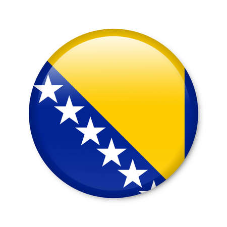 Glossy button in the national colors of Bosnia and Herzegovina Stock Photo