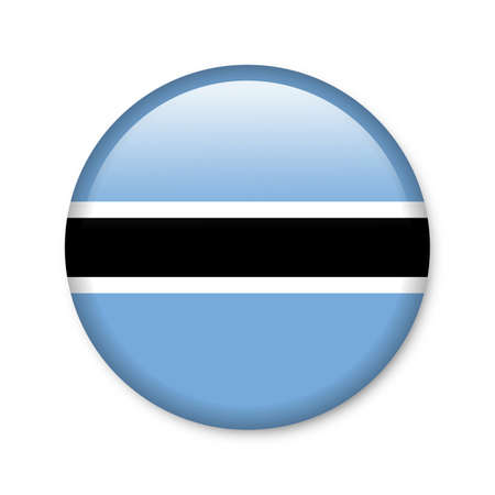 landlocked country: Botswana - glossy button with flag Stock Photo