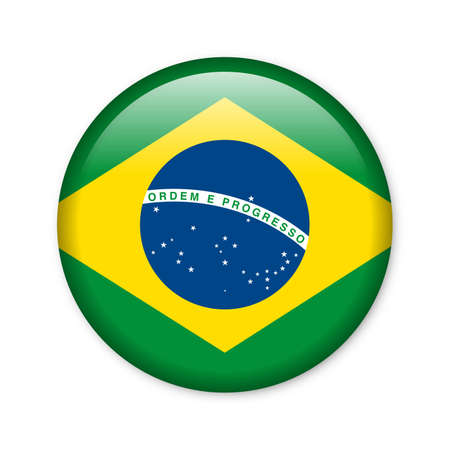southamerica: Brazil - glossy button with flag