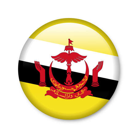 Brunei - glossy button with flag Stock Photo