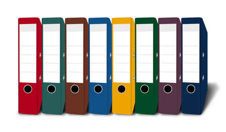 file folders: A number of file folders in different colors