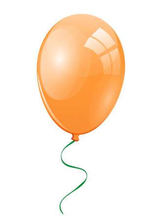 merrily: Orange balloon with a green ribbon