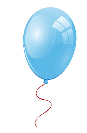 merrily: Light blue balloon with a red ribbon
