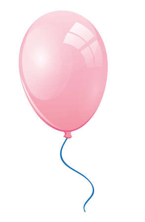 merrily: Pink balloon with a blue ribbon