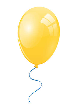 merrily: Yellow balloon with a blue ribbon Stock Photo