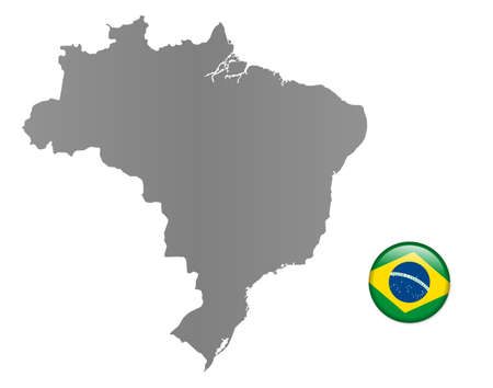Brazil - map with magnet in national colors