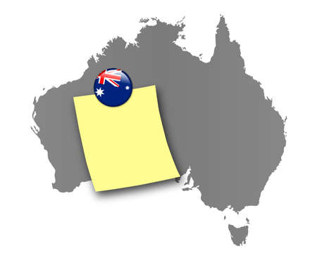 sidney: Map of Australia as a pinboard with a sticky note and a magnet in national colors