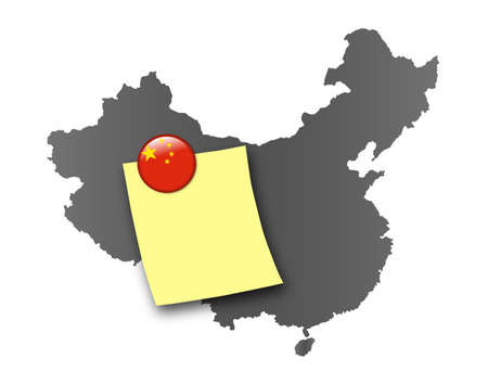 memo board: Map of China as a pin board with a sticky note and a magnet in national colors Stock Photo