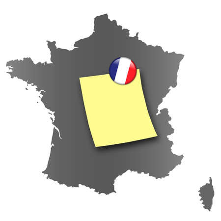 pin board: Map of France as a pin board with a sticky note and a magnet in national colors Stock Photo