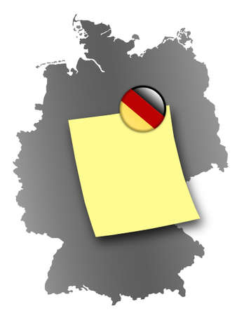 pin board: Map of Germany as a pin board with a sticky note and a magnet in national colors Stock Photo