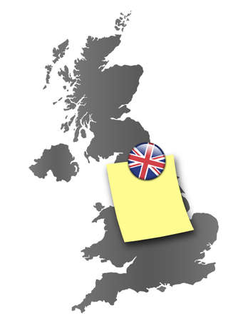 Map of Great Britain as a pin board with a sticky note and a magnet in national colors
