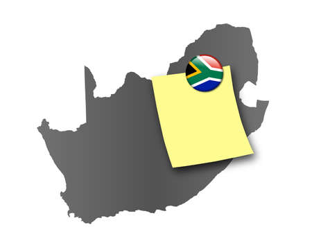 Map of South Africa as a pin board with a sticky note and a magnet in national colors