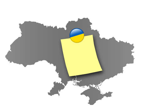 pinboard: Map of Ukraine as a pinboard with a sticky note and a magnet in national colors