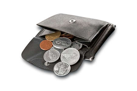 buying stock: Purse filled with euro and Swiss coins Stock Photo