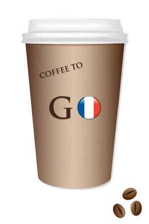 Illustration of a Coffee cup with a flag of France