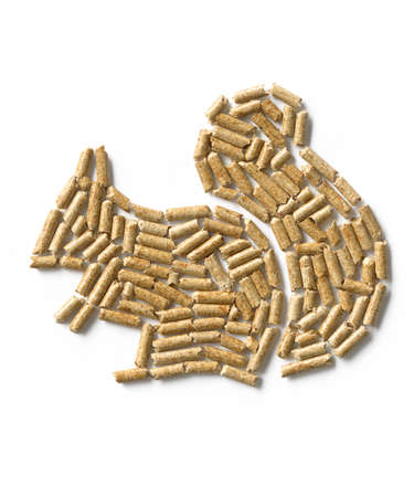 Wood pellets in the shape of a squirrel Stock Photo
