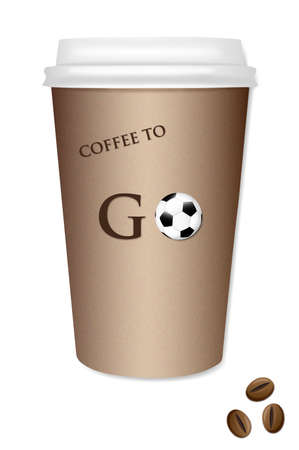 takeout: Coffee takeout cup with a football