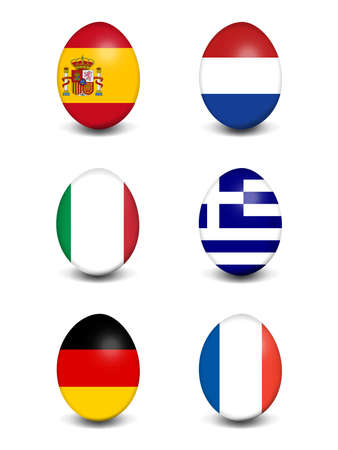 Easter egg collection in the National Colors of Spain, Netherlands, Italy, Greece, Germany and France Stock Photo