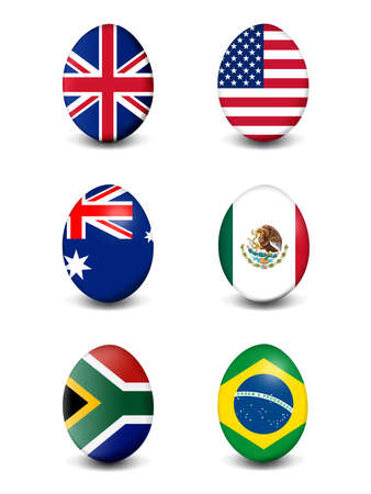 national colors: Easter eggs in the National Colors of the United Kingdom, the United States of America, Australia, Mexico, South Africa and Bolivia