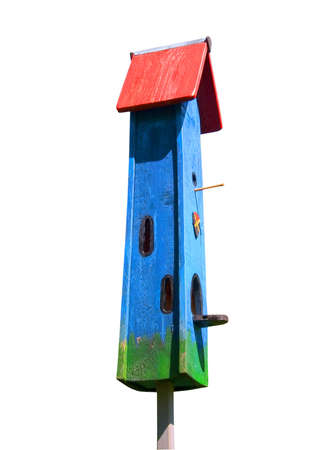 colorful bird house on a white background