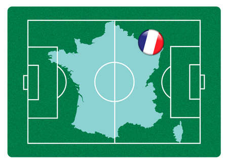 Football field with France map