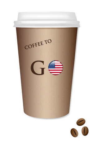 uefa: Coffee cup illustration with a flag of the USA