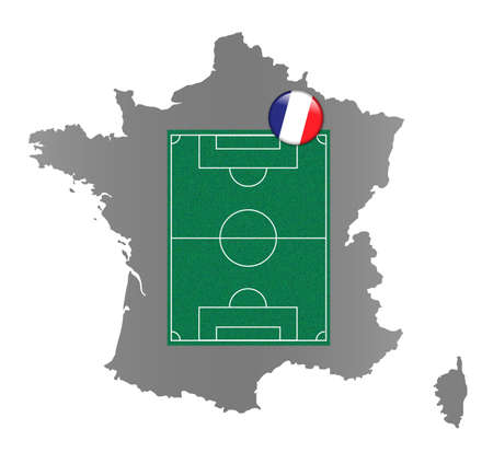 Map of France with a pinned soccer-football field