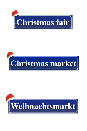 Christmas market signs with a Santa Claus hat Stock Photo